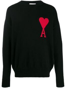 Ami свитер оверсайз вязки интарсия с логотипом E20HK010002