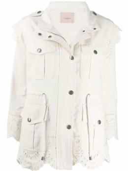 Twin-Set куртка с накладными карманами и вставками в технике кроше 201TP2011
