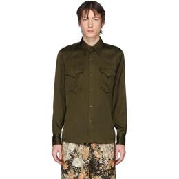 Dries Van Noten Khaki Satin Shirt 20762-9158-606