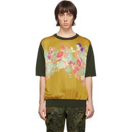 Dries Van Noten Khaki Merino Floral Print T-Shirt 21250-9702-954