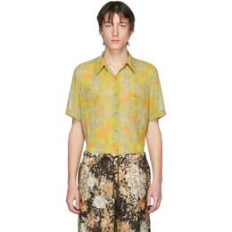 Dries Van Noten Yellow and Orange Floral Short Sleeve Shirt 20732-9082-202