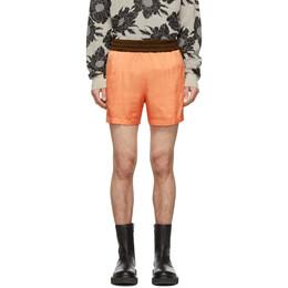 Dries Van Noten Orange Colorblocked Elastic Waist Shorts 20930-9158-350