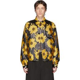 Dries Van Noten Yellow and Black Jacquard Floral Jacket 20530-9338-202