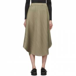 Pleats Please Issey Miyake Grey Curved Pleats Skirt PP06JG783