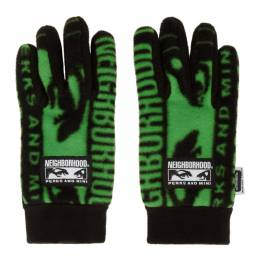 Perks And Mini Black and Green Neighborhood Edition Fleece Gloves 192DPPMN-AC01S