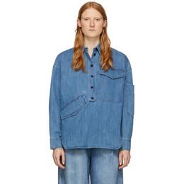 Tibi Blue Denim Oversized Cocoon Shirt R319OE7436