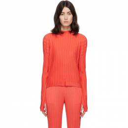 Pleats Please Issey Miyake Red Rib Pleats Turtleneck PP06FK341