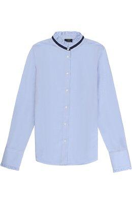 Хлопковая блуза с контрастной отделкой и оборками Dal Lago R412G/7628/XS-L
