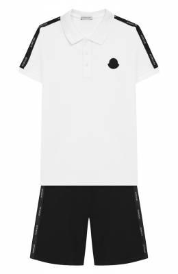 Комплект из хлопкового поло и шорт Moncler Enfant E1-954-88129-05-8496W/4-6A
