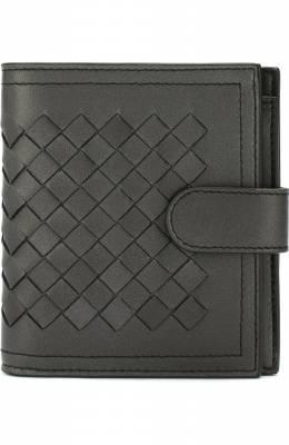 Кожаный кошелек с плетением intrecciato на кнопке Bottega Veneta 121059/VCK73