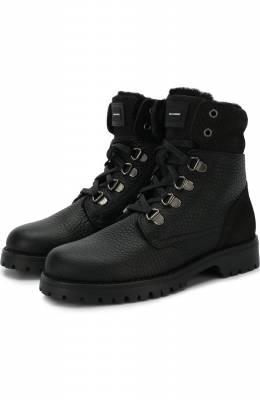Утепленные кожаные ботинки на шнуровке с молнией Dolce&Gabbana DA0209/AU491/29-36