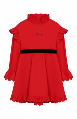 Хлопковое платье с поясом Philosophy Di Lorenzo Serafini Kids PJAB43/CA241/UH015/S-M