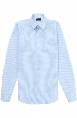 Хлопковая рубашка прямого кроя в мелкую клетку Dal Lago N402/2206/XS-L