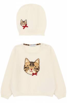 Комплект из джемпера с аппликацией и шапкой Dolce&Gabbana 0131/L2UG16/LK4G3