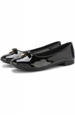 Лаковые балетки с бантом и подвеской Dolce&Gabbana 0132/D10341/A1328/29-36