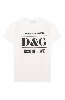Хлопковая футболка Dolce&Gabbana L1JT8E/G7SBP