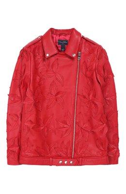 Кожаная куртка с косой молнией и аппликациями Oscar De La Renta 18FGE801LTH