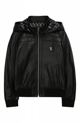 Кожаная куртка с капюшоном Billionaire B19C BLB0113 BLE001N/4-10