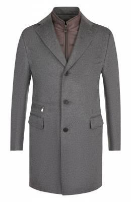 Однобортное шерстяное пальто с подстежкой Corneliani 821584-8813179/00