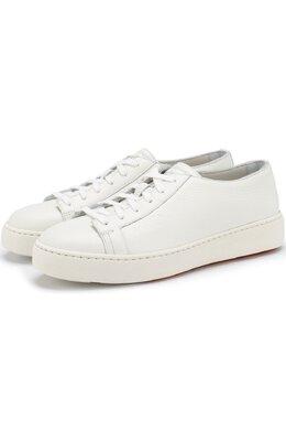 Кожаные кеды на шнуровке Santoni WBCE60442BA6CAYLI50