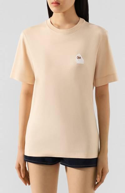 Хлопковая футболка Chloe CHC20SJH13181 - 3