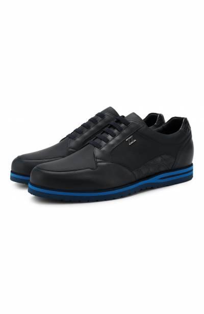 Кожаные кроссовки на шнуровке с отделкой из кожи каймана Zilli ZV B13/015/CCR0 - 1