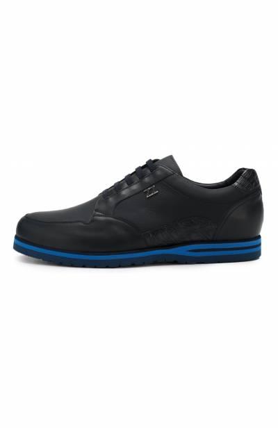 Кожаные кроссовки на шнуровке с отделкой из кожи каймана Zilli ZV B13/015/CCR0 - 3