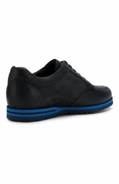 Кожаные кроссовки на шнуровке с отделкой из кожи каймана Zilli ZV B13/015/CCR0 - 4