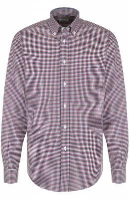 Хлопковая рубашка в клетку с воротником button-down Brioni SC02/06053