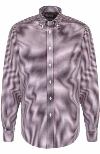 Хлопковая рубашка в клетку с воротником button-down Brioni SC02/06053 - 1