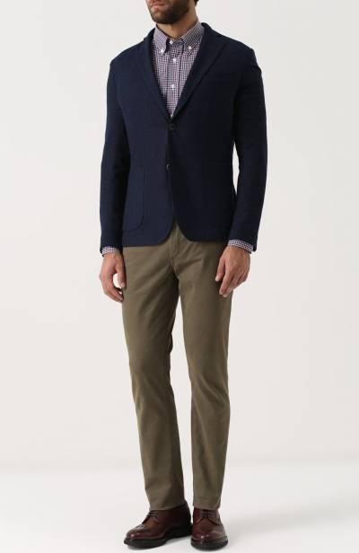 Хлопковая рубашка в клетку с воротником button-down Brioni SC02/06053 - 2