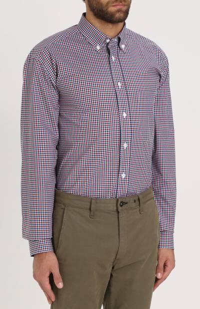 Хлопковая рубашка в клетку с воротником button-down Brioni SC02/06053 - 3