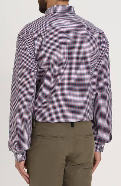 Хлопковая рубашка в клетку с воротником button-down Brioni SC02/06053 - 4