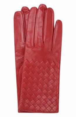 Кожаные перчатки с плетением intrecciato Bottega Veneta 244419/V5100