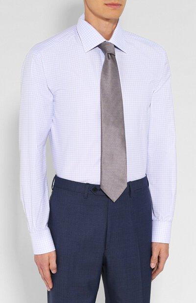 Хлопковая сорочка с воротником кент Brioni RCLU0U/07068 - 4