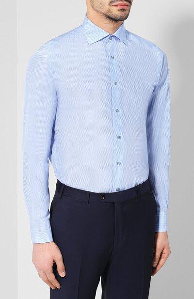 Хлопковая сорочка с воротником кент Zilli MFR-84080-MERCU/RZ01 - 3