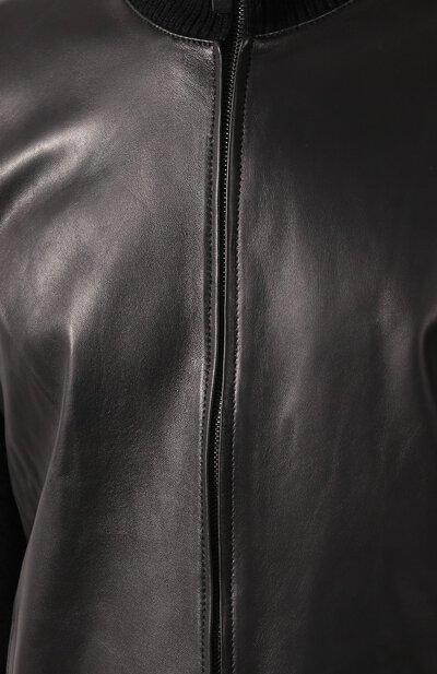 Кардиган из смеси шерсти и кашемира с кожаной отделкой Brioni UMDD0L/07K21 - 5