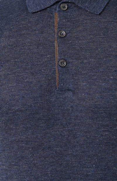 Поло из смеси льна и хлопка Brunello Cucinelli M2L14105 - 5