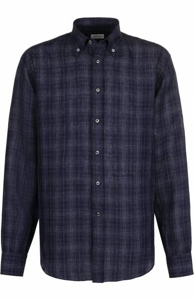 Хлопковая рубашка с воротником button down Brioni SC020Q/P7139 - 1