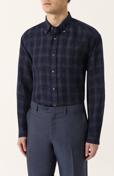 Хлопковая рубашка с воротником button down Brioni SC020Q/P7139 - 3