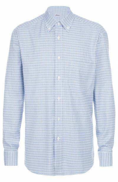 Хлопковая рубашка с воротником button down Brioni SC01/05046 - 1