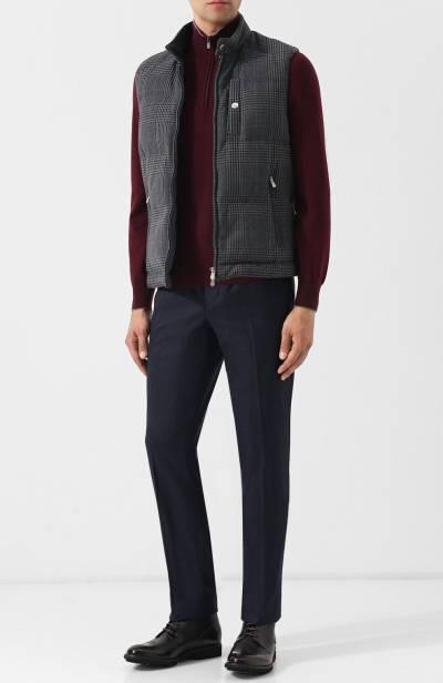 Шерстяные брюки прямого кроя Brunello Cucinelli ME226B1050 - 2