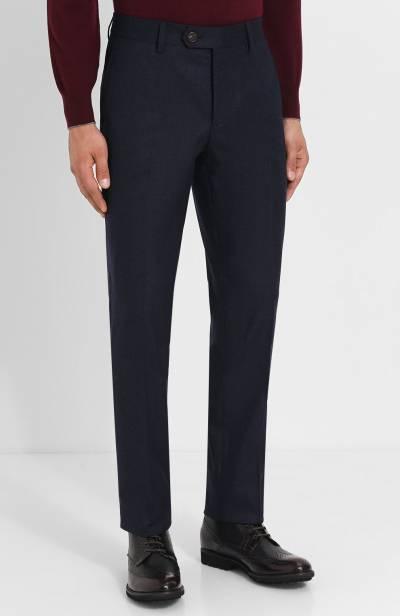 Шерстяные брюки прямого кроя Brunello Cucinelli ME226B1050 - 3