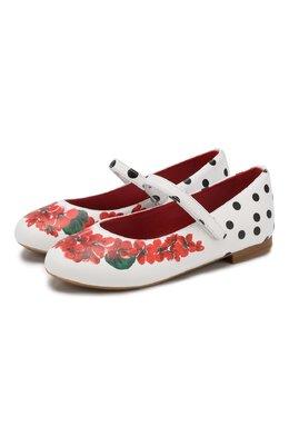 Кожаные балетки с застежкой велькро Dolce&Gabbana D10699/AC514/29-36