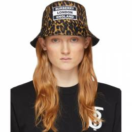 Burberry Reversible Black and Tan Leopard Print Bucket Hat 8023869