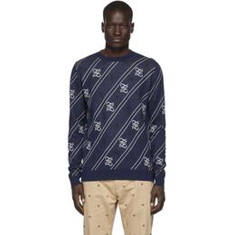 Fendi Navy Forever Fendi Cursive Sweater FZY033 AAUF