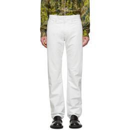 Dries Van Noten White Leather Pants 21813-9393-001