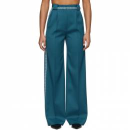 Fendi Blue High-Waisted White Stitch Trousers FR6240 A8D5