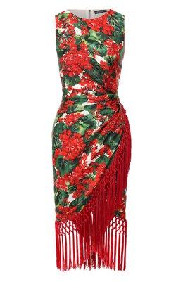 Платье из смеси шелка и вискозы Dolce&Gabbana F6C8AT/HS1ZW