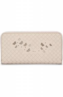 Кожаный кошелек с принтом и плетением intrecciato Bottega Veneta 506685/VA1K2